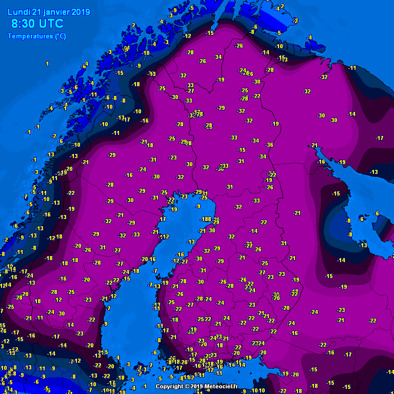 Temperaturen Finland 21 januari
